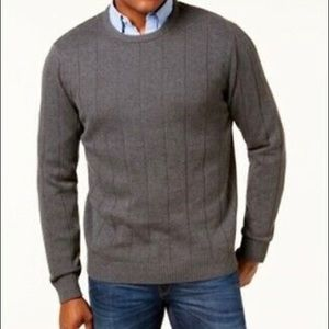 Club Room Gray Ribbed Crewneck Sweater